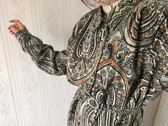 Vintage Paisley Shirt-dress/ Shapeless Dress/ Over