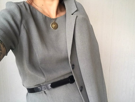 Vintage Grey 2-piece Dress Set/ Suit/ Skirt Suit/