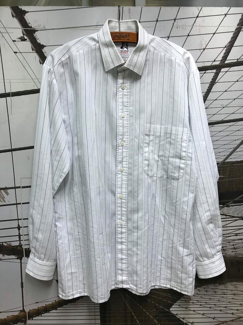 Vintage Unisex jacquard White Cotton Blue Striped Long Sleeve Shirt Top Blouse S L