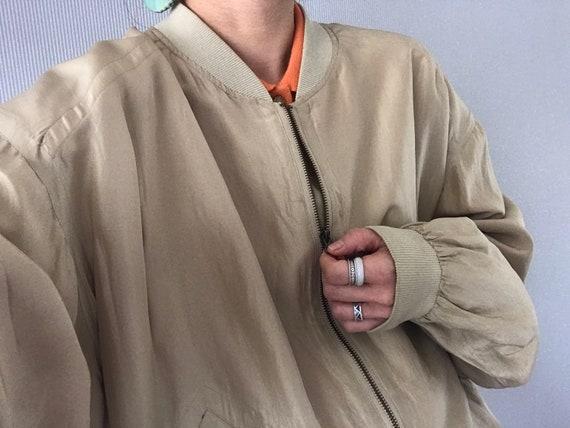 Vintage Unisex Khaki Beige Silk Bomber Jacket/ To… - image 7