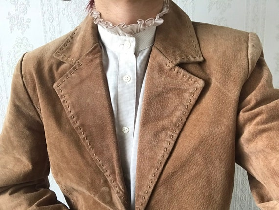 Vintage Tan Brown Suede Skirt Suit/ M