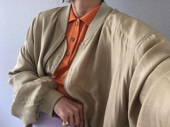 Vintage Unisex Khaki Beige Silk Bomber Jacket/ To… - image 2