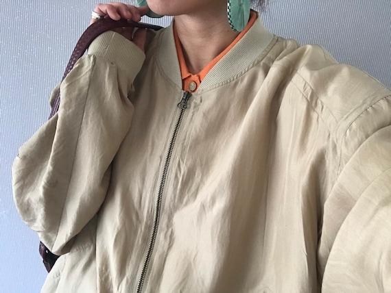 Vintage Unisex Khaki Beige Silk Bomber Jacket/ Top