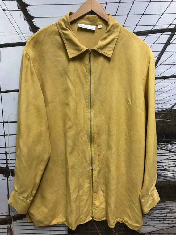 Vintage Dusty Yellow woven pure Silk Long Sleeve … - image 9