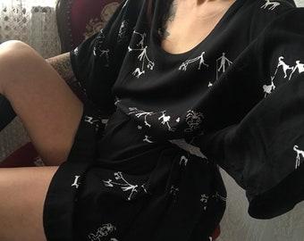 Vintage Black puppies print Blouse/ Top/ baggy t-Shirt Dress/ Shirt/ tall M - 6XL
