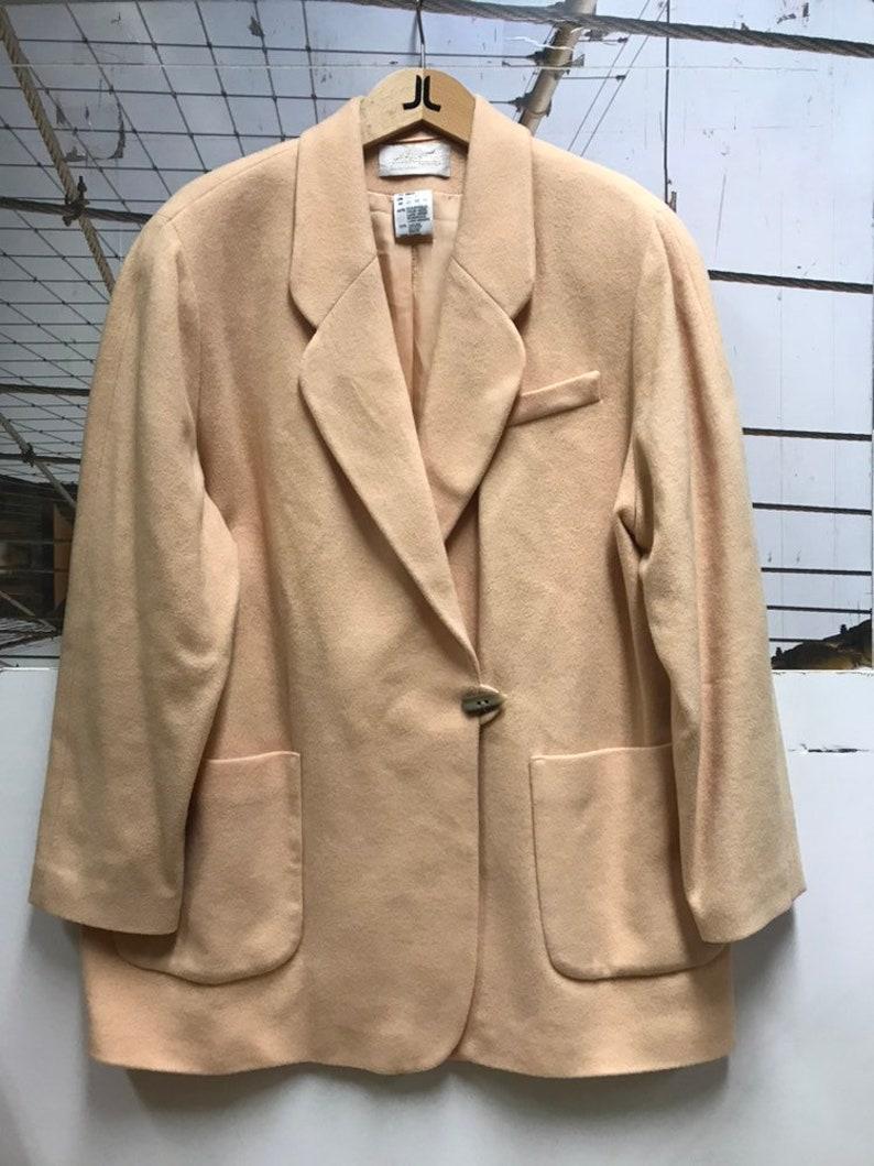 Vintage Wool Cashmere Blend Powder Apricot Coat Jacket M XL