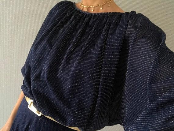 Vintage Navy Gold Half puffed Sleeve Dress/ tall S