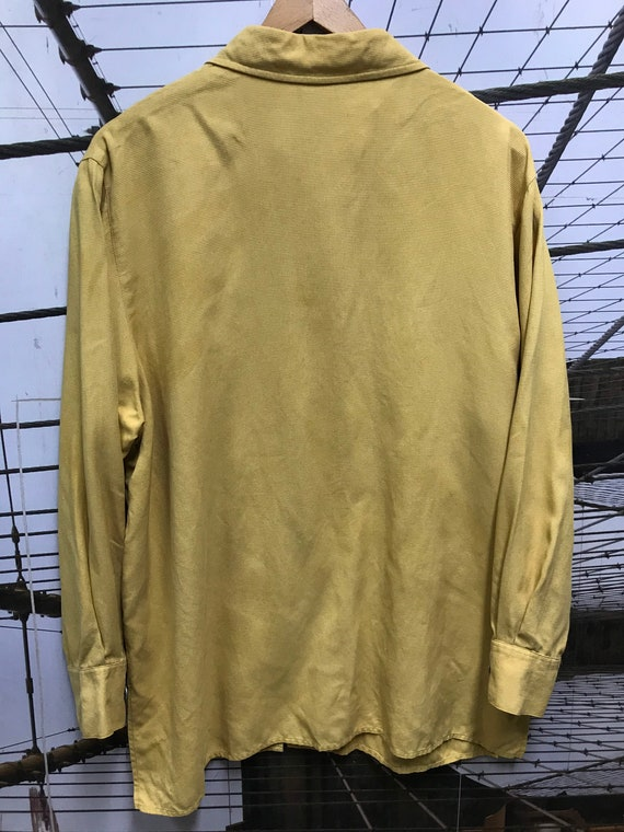 Vintage Dusty Yellow woven pure Silk Long Sleeve … - image 10