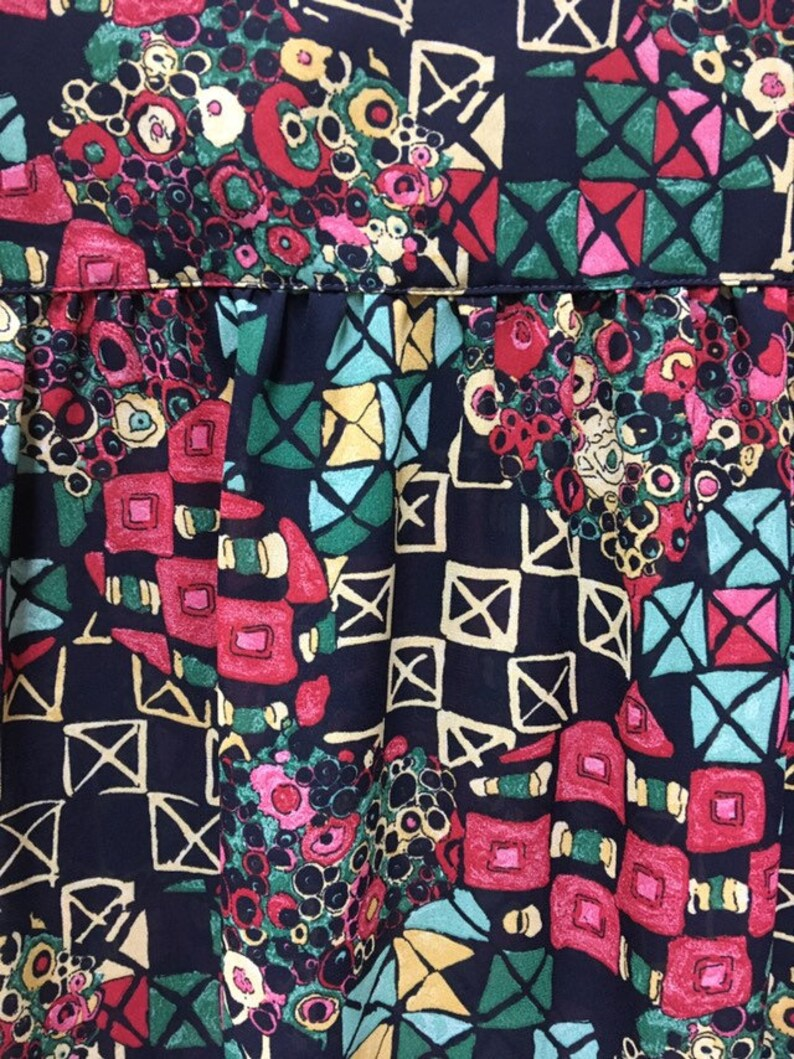XXL Vintage Oversize Lightweight Blouse multicolored Abstract Geometric Prints S