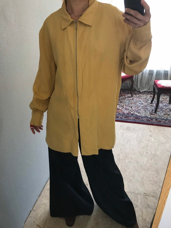 Vintage Dusty Yellow woven pure Silk Long Sleeve … - image 5
