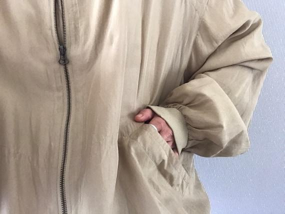 Vintage Unisex Khaki Beige Silk Bomber Jacket/ To… - image 6