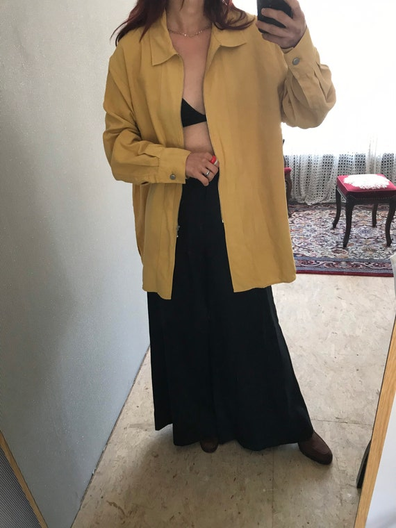 Vintage Dusty Yellow woven pure Silk Long Sleeve … - image 6