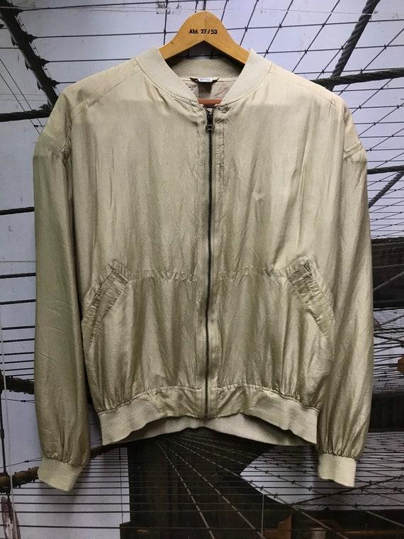 Vintage Unisex Khaki Beige Silk Bomber Jacket/ To… - image 8