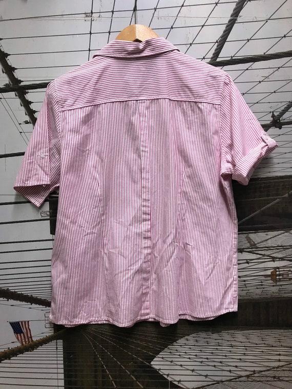 Raspberry Cotton Striped Short Sleeve Shirt Top L XL