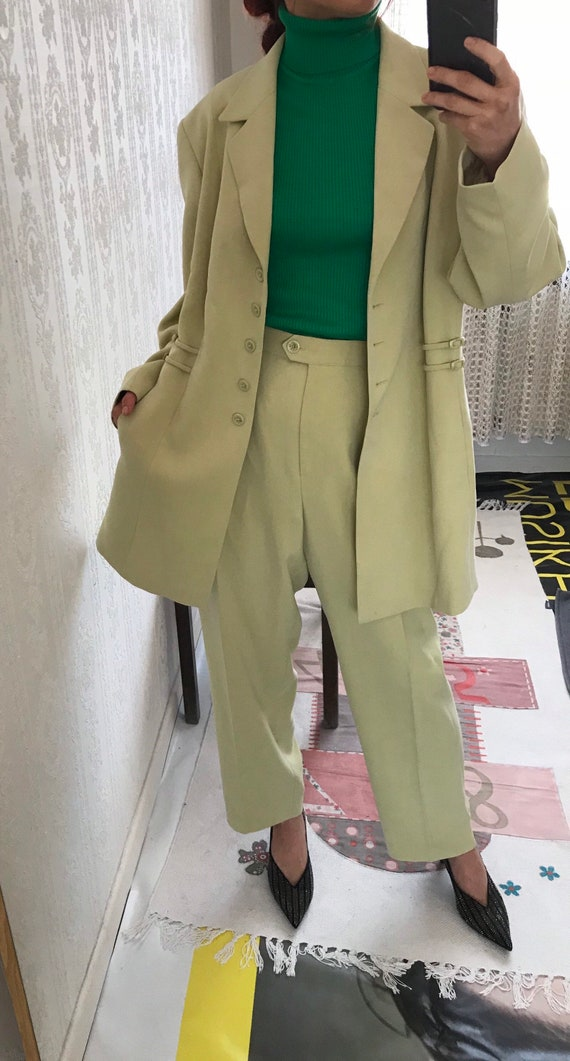 Vintage dusty pale Mustard Yellow High Rise Pant S