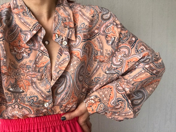 Vintage Silk Paisley Long Sleeve Blouse/ Top/ Shir