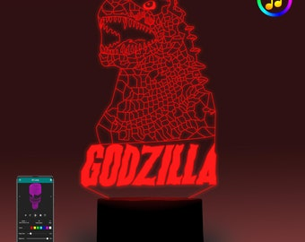 Godzilla-Touch/Remote control/Smart 3D lamp-Optical Illusion LED lamp-Sync with Music-Bedroom Lamp-Bedroom Decoration-Birthday gift for him