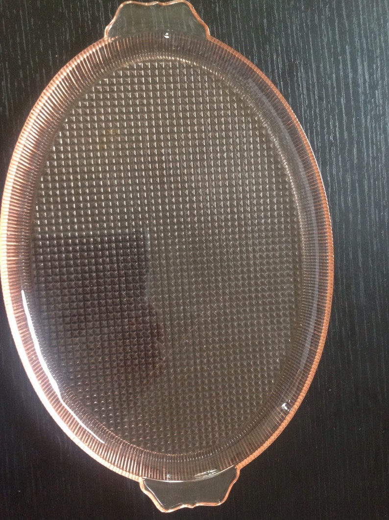 Tray by Jeanette Glass 1930s Pink Homespun Fine Rib Depression Glass Oval Platter