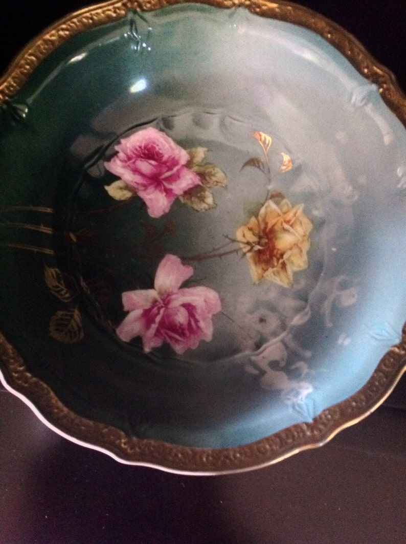 C T Germany Porcelain Hand Painted Berry Bowl Set