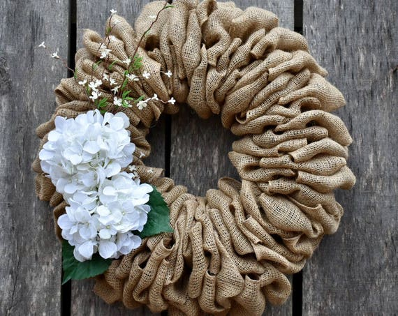 Burlap Hydrangea Wreath, Burlap Wreath, Everyday Burlap Wreath, Burlap Decor