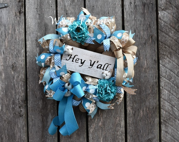 Hey Y'all Turquoise Spring/Summer Deco Mesh Wreath, Turquoise & Tan Farmhouse Wreath, Spring / Summer Door Decor