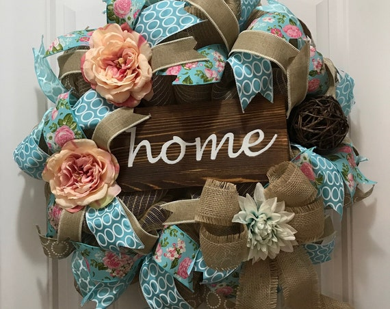 Home Spring / Summer Wreath, Home Farmhouse Wreath, Spring Decor, Summer Decor