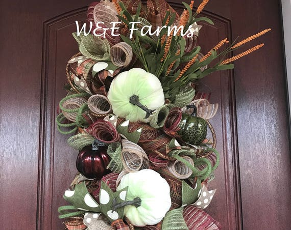 Autumn Swag, Fall Swag, Pumpkin Wreath, Thanksgiving Decor, Ready to Ship