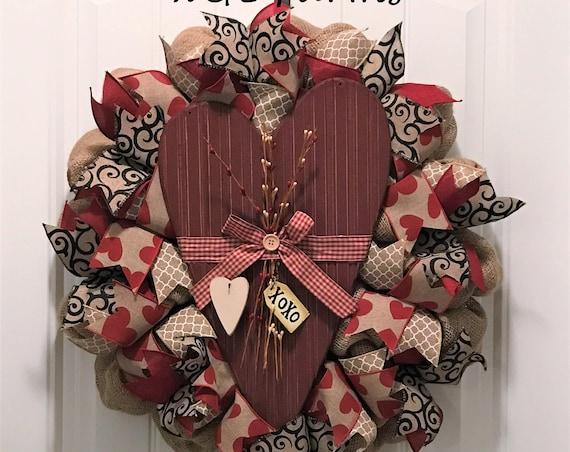 Valentine's Day Burlap Wreath, Valentine's Wreath, Burlap Wreath, Ready to Ship