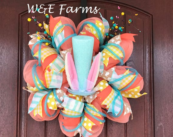 Easter Wreath, Easter Bunny Wreath, Spring Wreath, Ready to ship