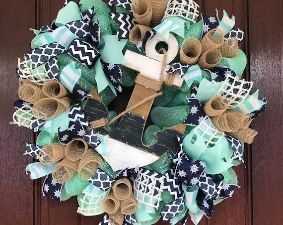 Nautical Wreath, Anchor Wreath, Beach House Wreath, Summer Wreath