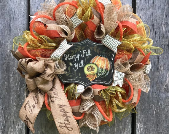 Happy Fall Y'all Wreath, Fall Wreath, Autumn Wreath, Mesh Fall wreath, Fall Decor, Ready to Ship