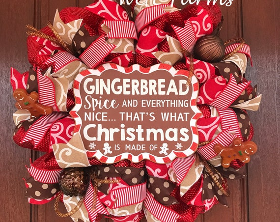 Gingerbread Christmas Wreath, Christmas Wreath, Christmas Decor, Ready to Ship