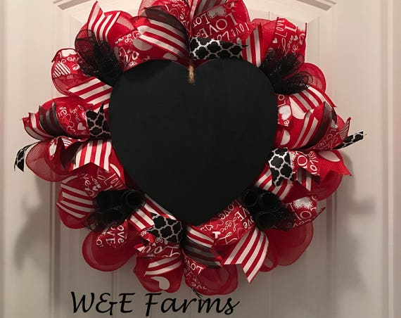 Chalkboard Heart Valentine's Day Wreath , Valentine's Day Wreath, Heart Wreath, Ready to Ship