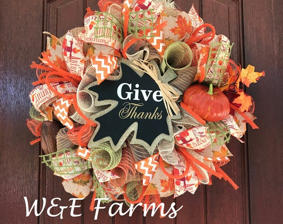 Give Thanks Fall Wreath, Thanksgiving Wreath, Fall Wreath, Mesh Fall Wreath, Fall Decor, Pumpkin Wreath, Ready to Ship