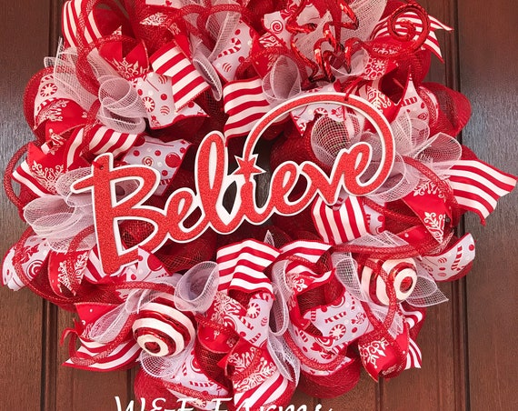 Christmas Believe Wreath, Red & White Christmas Wreath, Christmas Decor, Ready to Ship