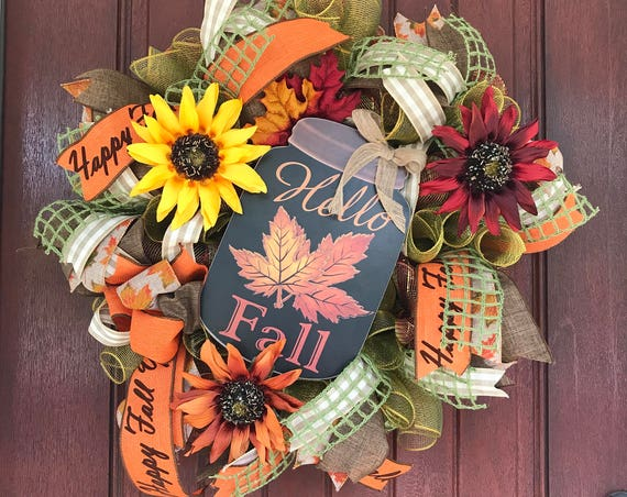 Hello Fall Wreath, Happy Fall Y'all Wreath, Sunflower Wreath, Fall Wreath, Ready to Ship