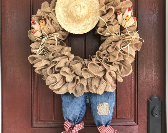 Scarecrow Wreath, Fall Wreath, Burlap Wreath, Garden Wreath, Straw Hat Wreath, Fall Decor, Autumn Decor