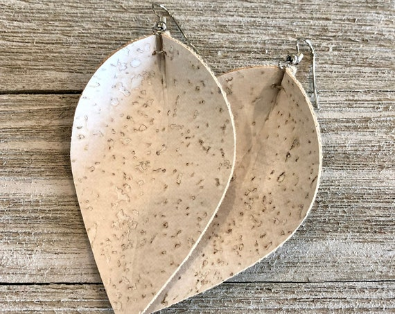 Cork folded petal Earrings, Cork leaf Earrings, Cork teardrop Earrings, Cork Earrings
