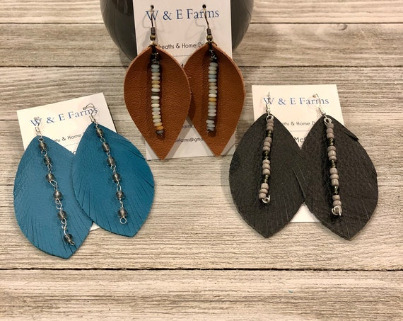 Beaded Leather Earrings, Folded Petal Earrings, Folded Leaf Earrings, Feather Earrings