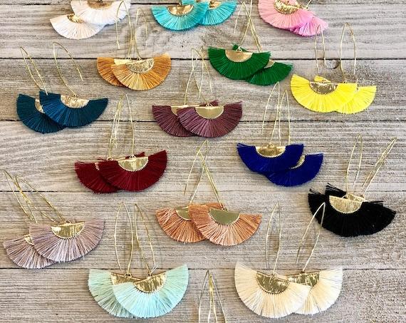 Drop Fan Earrings, Silk Fan Earrings, Tassel Fan Earrings, Tassel Earrings, Fan Earrings