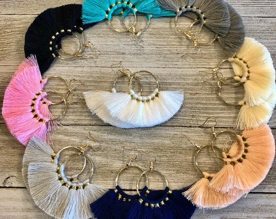 Fan Earrings, Fan Tassel Earrings, Fan Ring Earrings, Tassel Earrings