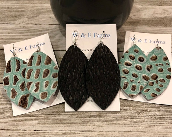Leather Petal Earrings, Leather Earrings, Leather Croc Earrings, Leather Braided Earrings