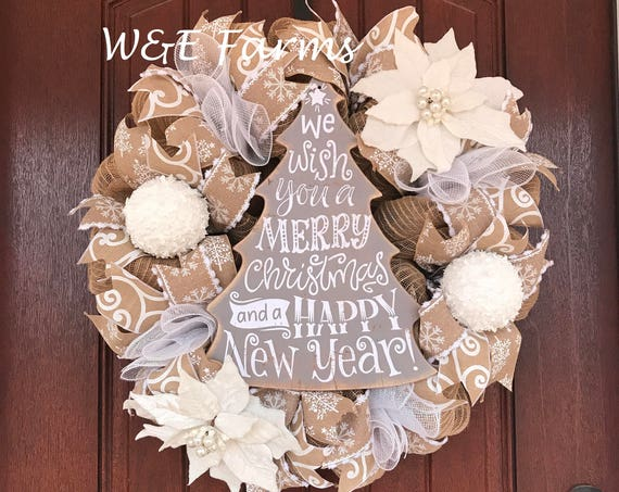 Merry Christmas Wreath, Christmas Tree Wreath, Christmas Decor, Ready to Ship