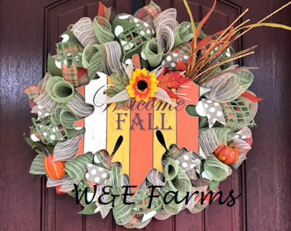 Welcome Fall Wreath, Fall Wreath, Fall Decor, Mesh Fall Wreath, Autumn Decor, Ready to Ship