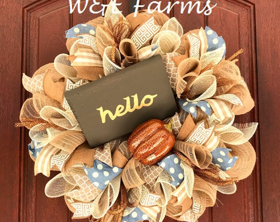 Fall Wreath, Hello Fall Wreath, Pumpkin Wreath, Mesh Fall Wreath, Fall Decor, Ready to Ship