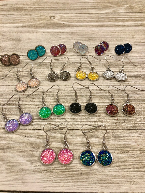 Glitter stud earrings, Glitter hanging earrings, Glitter Earrings