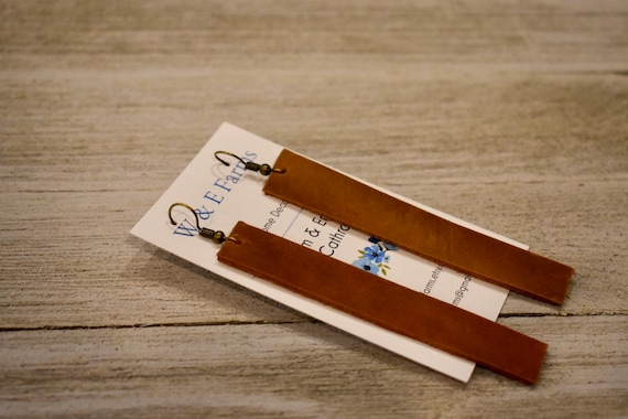 Brown leather bar drop earrings