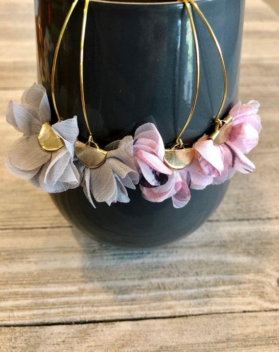 Petal Drop Fan Earrings, Petal Fan Earrings, Fan Earrings