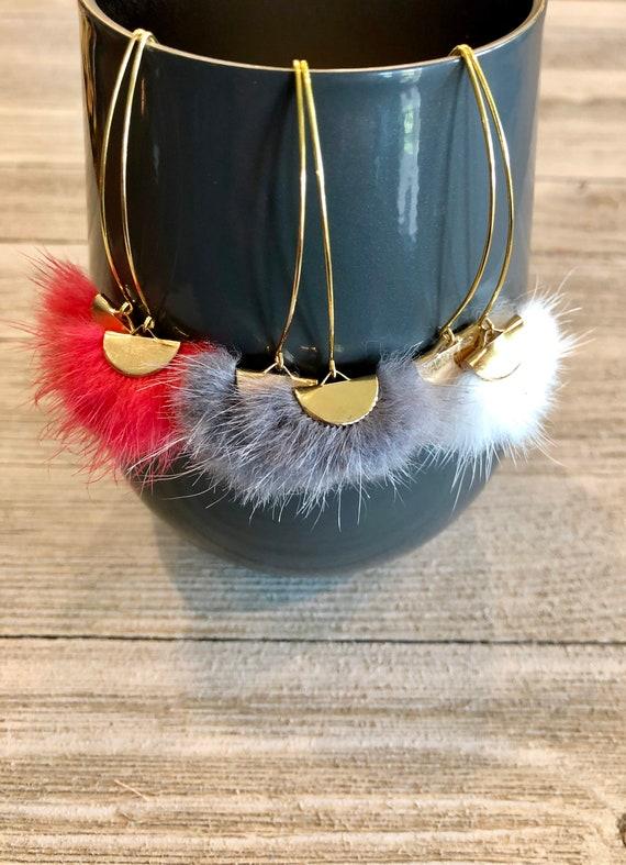 Mink Fur Fan Tassel Earrings, Fan Tassel Earrings, Fan Earrings, Tassel Earrings