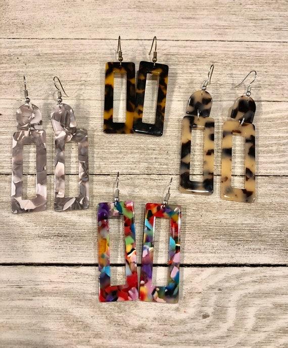 Acrylic Rectangular Earrings, Tortoise Shell Earrings, Acrylic Earrings, Tortoise Shell Jewelry